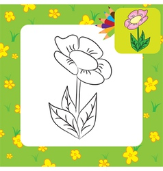 Flower coloring page vector