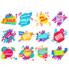 Set of modern bright different colored sale vector