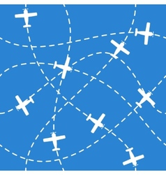Seamless background with airplanes flying on blue vector image