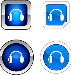 Headphones button set vector