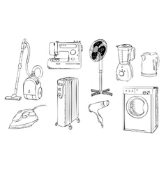 Everyday household appliances set vector