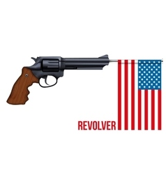 Big revolver with usa flag vector