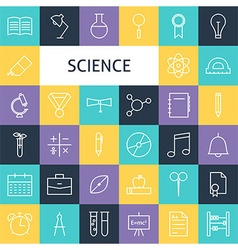 Flat line art modern science education and school vector