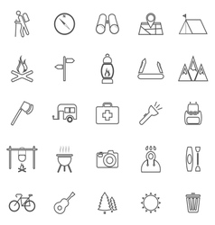 Trekking line icons on white background vector