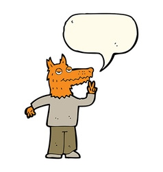 Cartoon happy fox man with speech bubble vector