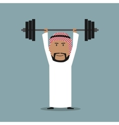 Strong arabian businessman lifted heavy barbell vector
