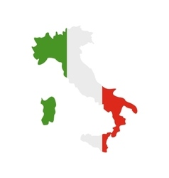 Map of italy with national flag icon flat style vector