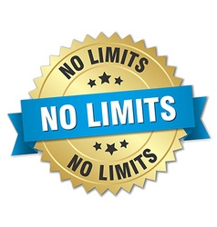 No limits 3d gold badge with blue ribbon vector