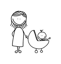 Mother with baby drawing isolated icon design vector
