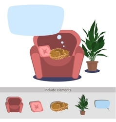 Cat sleeping in armchair vector