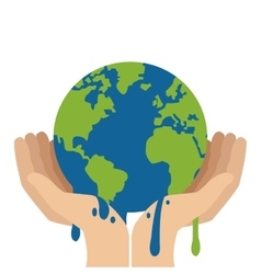 Hands holding planet earth melting icon vector