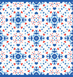 Blue red pattern flower boho background vector