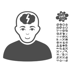 Clever boy icon with tools bonus vector