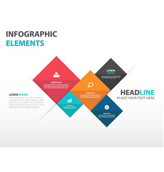 colorful 5 square business infographics elements vector image