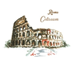Colosseum hand drawing watercolor style vector image vector image