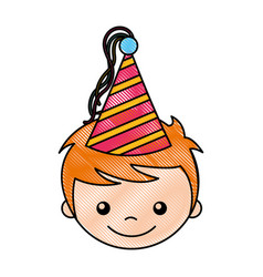 cute boy with party hat character vector image