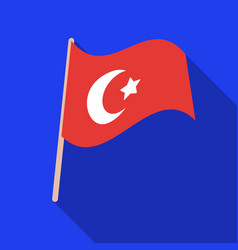 Flag of turkey icon in flate style isolated on vector
