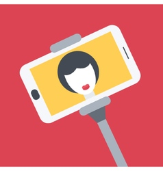 Flat design girl taking selfie with monopod vector image