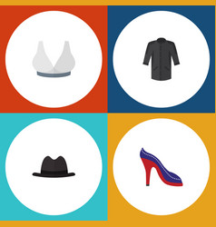 Flat icon dress set of heeled shoe uniform vector