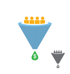 Flat sales funnel icon isolated on white vector