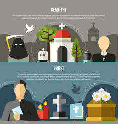 funeral services banners set vector image vector image