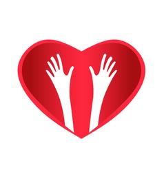 Helping Hands Heart vector image vector image