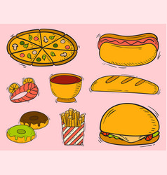 Icons fast food hand drawn restaurant vector
