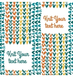 Knitted seamless pattern with text field vector