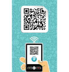 Mobile phone decoder qr code vector image