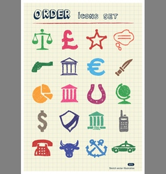 Order law and heraldic web icons set vector image vector image
