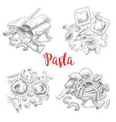 Pasta and italian macaroni sketch vector
