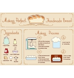 Recipe of homemade bread with ingredients hand vector