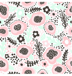 Seamless hand drawn floral pattern in pink mint vector