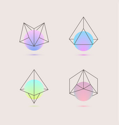 set of holographic geometric logos vector image