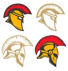 set of spartan helmets design elements for label vector image vector image