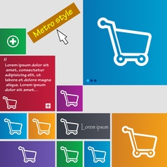 Shopping cart icon sign buttons Modern interface vector image
