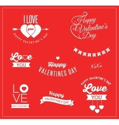 Valentines day icons lettering and elements vector