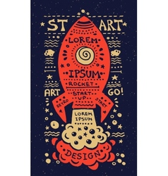 vintage grunge label with rocket vector image