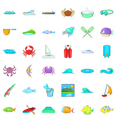 Water fish icons set cartoon style vector