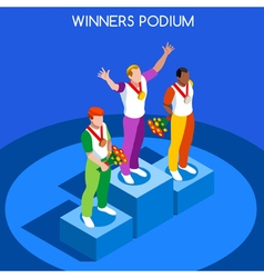 Winner Podium 2016 Summer Games 3D Isometric vector image