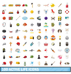100 active life icons set cartoon style vector