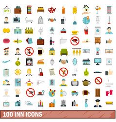 100 inn icons set flat style vector image
