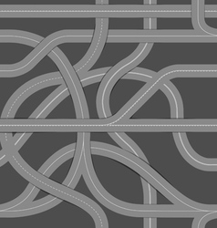 Seamless background of winding roads vector image