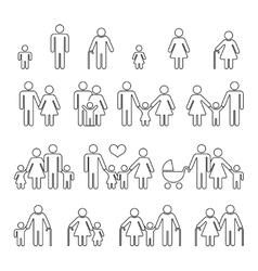 Family human thin line outline icons vector