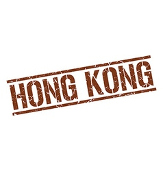 Hong kong brown square stamp vector