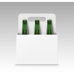 Blank green bottles of light beer with packaging vector