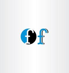 Letter f blue black icon sign symbol element vector