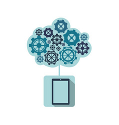 blue smartphone with cloud of gears icon vector image
