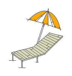 A sunbed with parasol vector