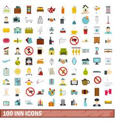 100 inn icons set flat style vector